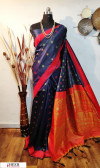 Navy blue color Handloom raw silk weaving saree