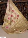 Cream color Pure Linen Digital printed saree