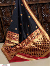 Black color Banglori raw silk zari woven work saree
