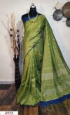 Green color Raw silk checks border saree