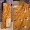 Orange color Linen silk Embroidered work saree