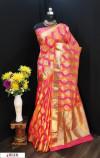 peach color Soft Banarasi silk weaving work saree