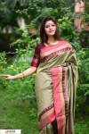 Cream color Soft raw silk temple work saree