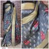 Gray color Handloom chanderi cotton weaving Work saree