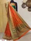Orange color Banarasi silk meenakari saree