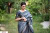 Gray color Soft raw silk temple work saree