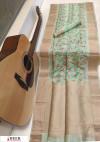 Green color Soft muga silk Digital printed saree
