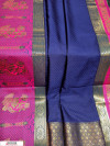 Navy Blue color Soft kanchipuram silk weaving work saree