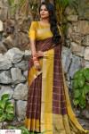 Cofee color Chanderi Cotton checkered Work saree