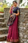 Wine color Handloom cotton weaving patola saree