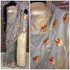 Gray color Linen silk Embroidered work saree