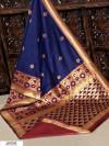 Navy blue color Banglori raw silk zari woven work saree