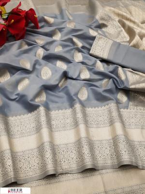 Gray color soft cotton silk weaving work saree