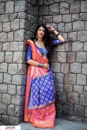 Pink color Banarasi silk weaving Patola saree