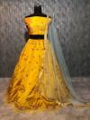 Yellow color premium tapeta silk lehenga with zari and sequins embroidery work