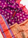 Magenta color kanchipuram handloom weaving silk saree with zari work