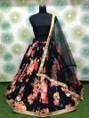 Black color heavy silk lehenga with flower print work