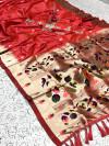 Gajari color pure kanchipuram paithani silk saree with zari work