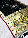 Black color pure kanchipuram paithani silk saree with zari work