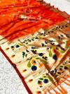 Orange kanchipuram paithani silk saree with zari work