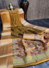 Yellow color pure chanderi cotton saree with zari woven work
