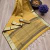 Yellow color aasam weaving saree with ikat woven pallu