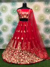 Red color heavy net embroidery work lehenga