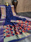 Navy blue color pure chanderi cotton saree with zari woven work