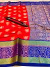 Red color kanchipuram handloom weaving silk saree with zari work
