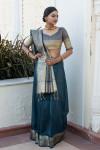 Rama green color tassar silk weaving saree with silver and golden zari work