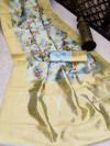 Firoji color banarasi silk saree with beautiful digital print work