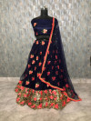 Navy blue color heavy soft mono net lehenga with thread and zari embroidery sequins work