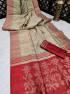 Cream color pure tussar silk jamdani weaving saree