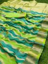 Green color banarasi silk saree with zari weaving work