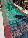Rama green color pure tussar silk jamdani weaving saree