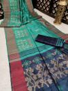 Rama green color pure tussar silk jamdani weaving saree