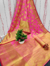 Gajari color banarasi silk saree with gold zari weaving work