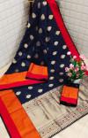 Navy blue color soft Cotton Jacquard work saree