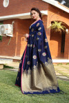 Navy blue color soft & Pure cotton silk saree with pure gold zari work