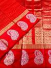 Red color soft linen silk handloom saree with golden zari checks