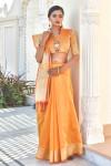Orange color tassar silk weaving saree with silver and golden zari work