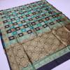 Black and rama green color soft banarasi silk saree
