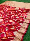 Red color banarasi silk saree with golden zari weaving work