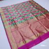 Pink and rama green color soft banarasi silk saree