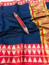 Navy blue color kota doriya silk saree with zari weaving work