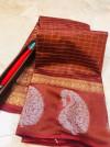 Coffee color soft linen silk handloom saree with golden zari checks