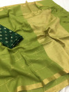 Green color pure linen saree with heavy brocade blouse