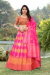 Pink color banarasi brocade lehenga with banarasi dupatta