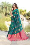 Rama green color soft & Pure cotton silk saree with pure gold zari work