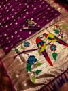 Magenta color pure kanchipuram silk saree